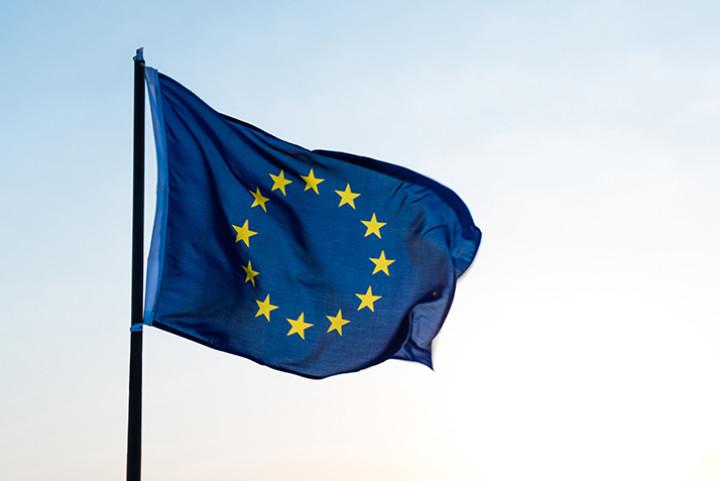 EU flag on pole