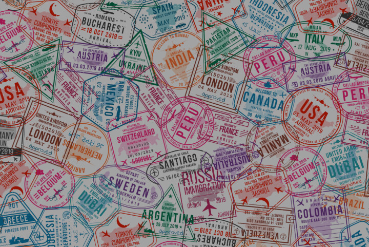 A print design made up of visa stamps