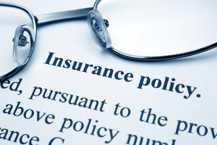 close up of the text of an insurance policy document