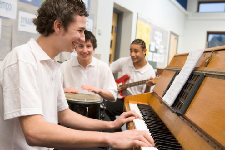 Secondary School Children at Piano