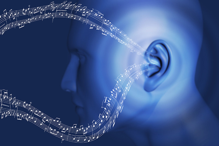 Music notes moving into an ear