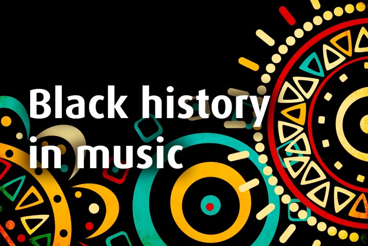 'Black history in music' overlaid on an African artwork design