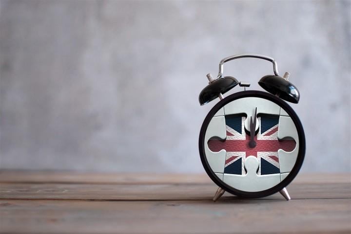 A clock with a union flag face.