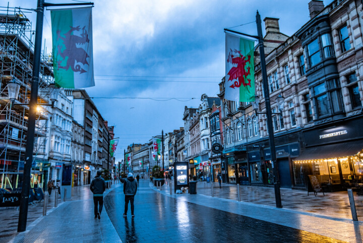 Main shopping area in Cardiff with Welsh flags