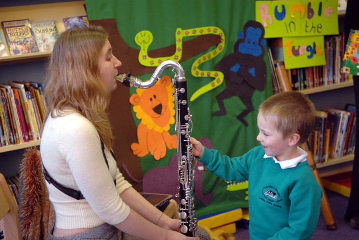 Child in a music lesson