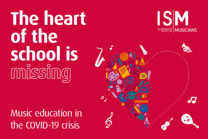 The heart of the school is missing, superimposed on an image of a heart with musical instruments around it