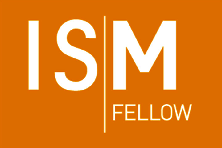 ISM fellow logo on an orange background
