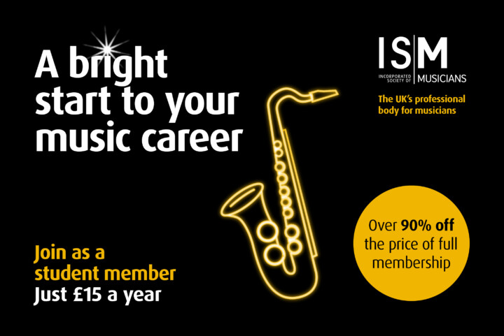 ISM student membership marketing image. Features a yellow neon saxophone.