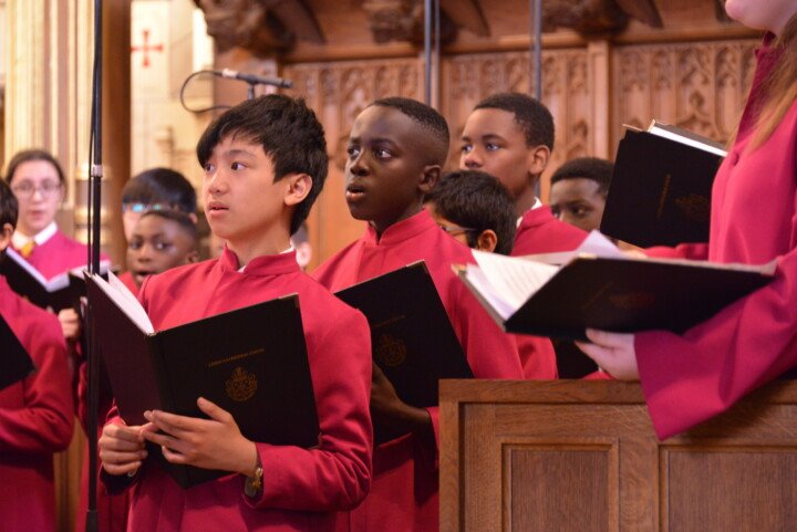 Young boys singing in Leeds Cathedral Boys Choir