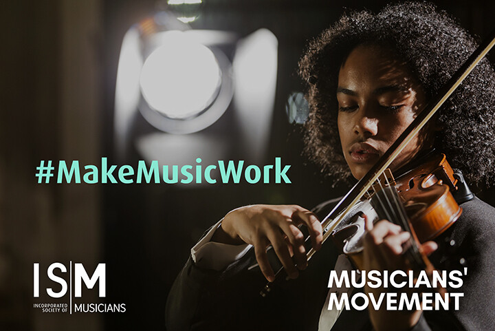 A young violinist looks deep in concentration. Hashtag Make Music Work is superimposed onto the image, as well as the ISM and Musicians Movement logos.