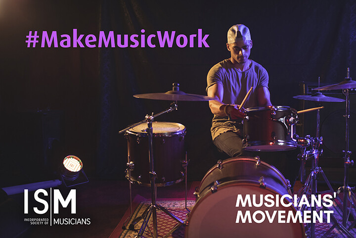 A drummer wearing a backwards baseball cap adjusts a high tom (part of his drum kit) carefully. Hashtag Make Music Work is superimposed onto the image, as well as the ISM and Musicians Movement logos.