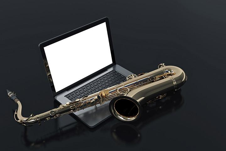 A saxophone on a laptop