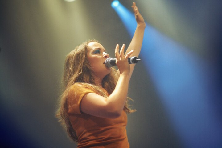 Singer on stage with arm raised
