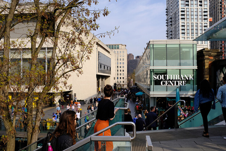 The Southbank in London in Spring, showing the Southbank Centre.
