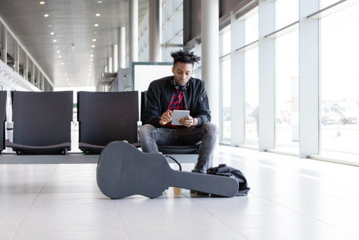 musician at airport