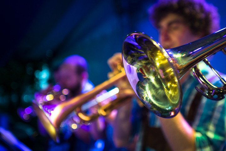 Trumpets performing in a gig