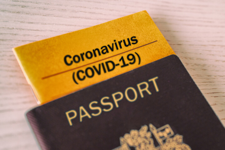 passport with document labelled covid-19