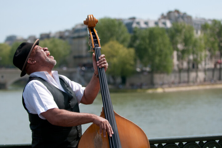 BAME double bassist performing outside