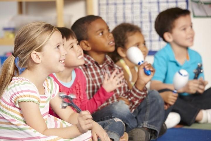 primary school children in a music lesson