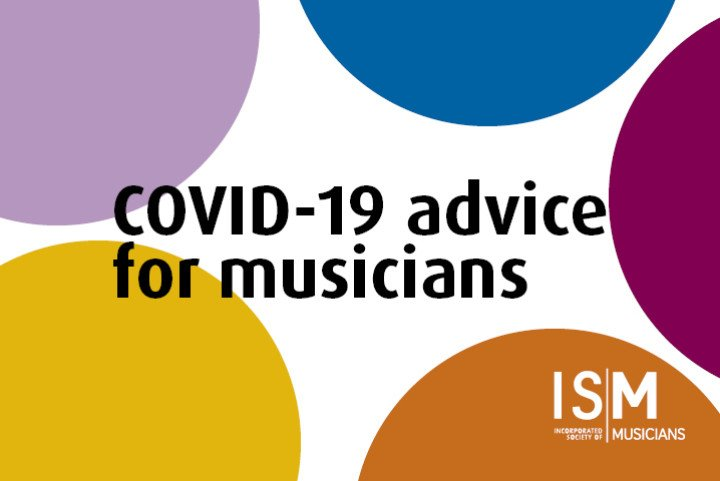 Covid-19 advice for musicians on coloured background