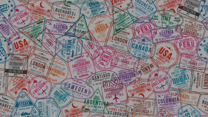 A print design made up of visa stamps