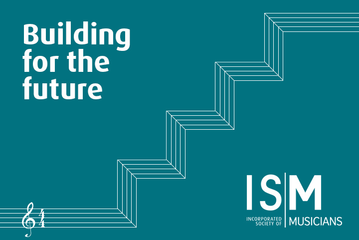 A musical stave forms a 3d staircase effect, combined with the ISM logo and the title of the event 'Building for the future'