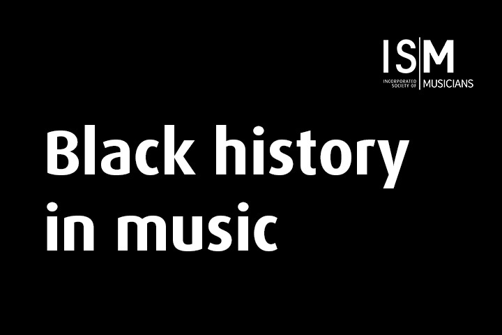 A black rectangular background featuring a white ISM logo with white text reading Black history in music