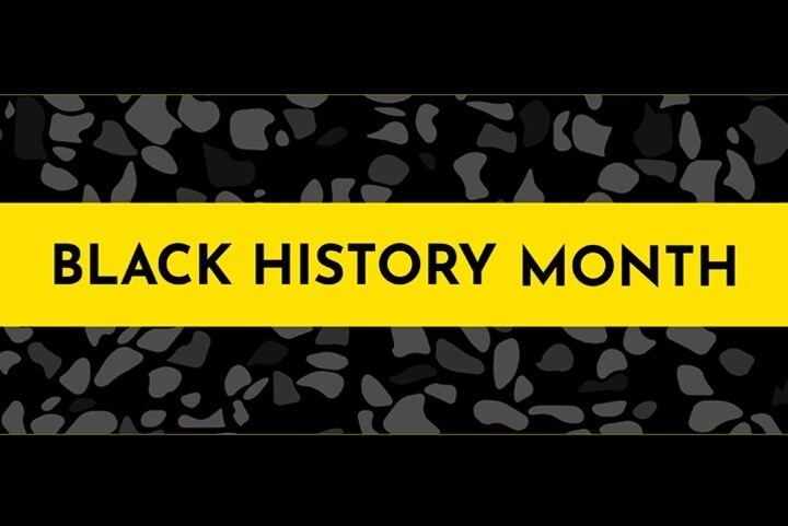 Black History Month text in a yellow box over an African tribal pattern in black and grey.