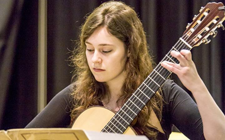 Classical guitarist performing