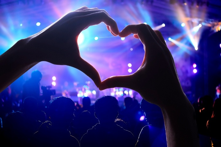 A person at a gig makes a heart shape with their hands