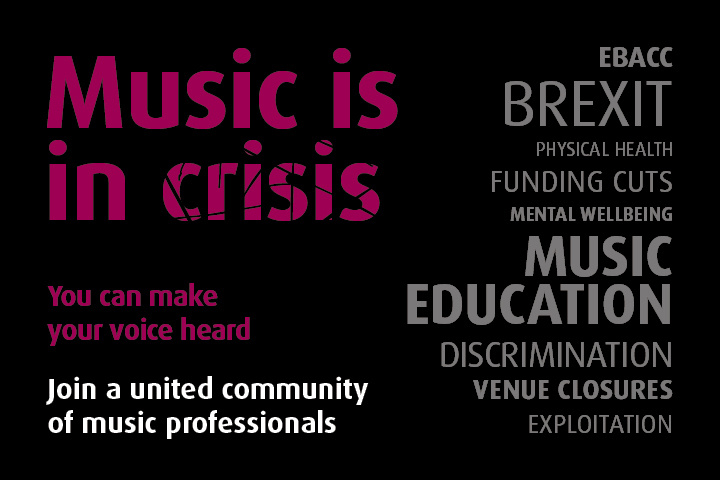 Music in crisis - words with cracked lettering
