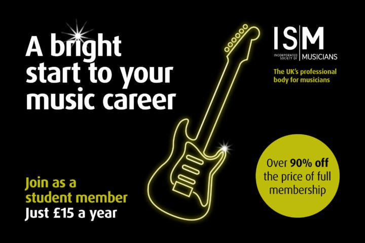 ISM student membership image. Neon green guitar illustration