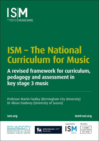 Green background with words National Curriculum for Music