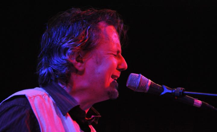 Singer singing live