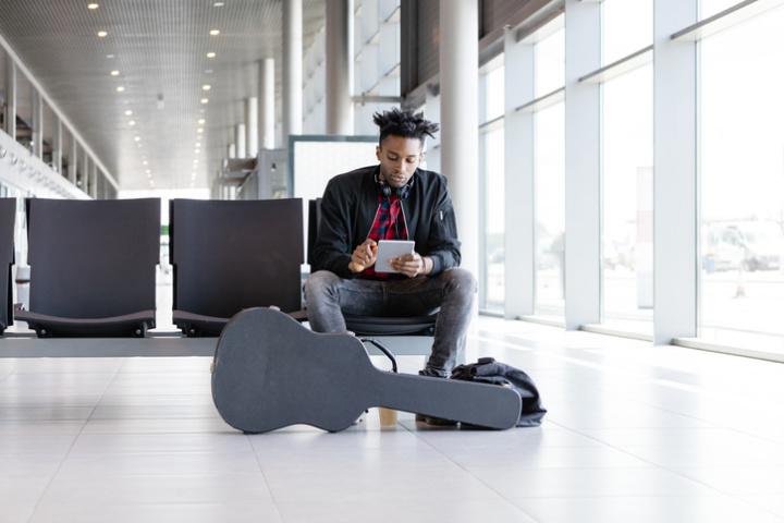 musician at airport