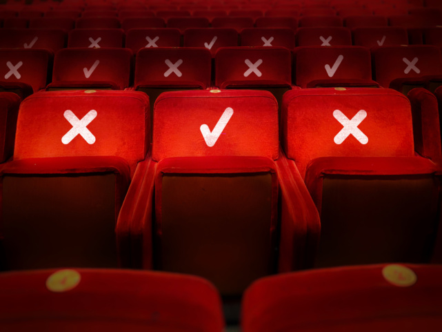 socially distanced markings on concert hall seating