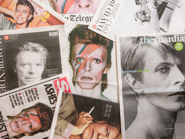 Newspaper clippings of David Bowie