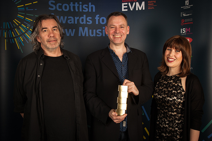 Presenting the ISM Prize for Collaboration to members of Red Note Ensemble at the Scottish Awards for New Music 2018