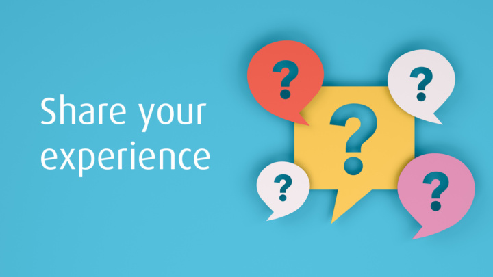 Share your experience header image with question marks