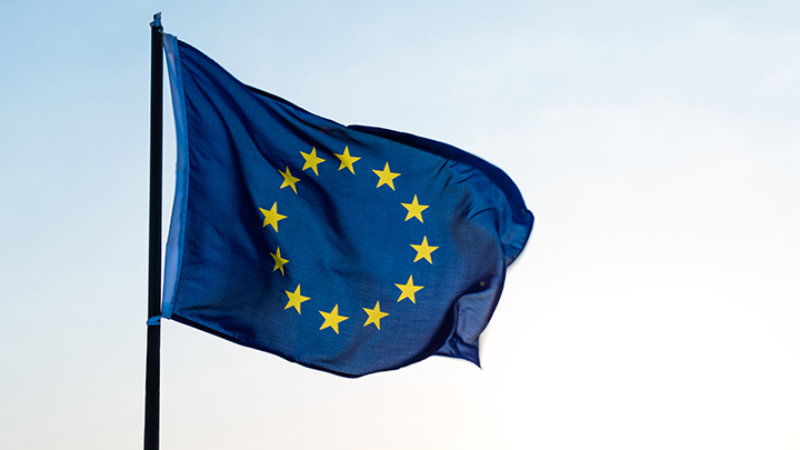 EU flag on pole