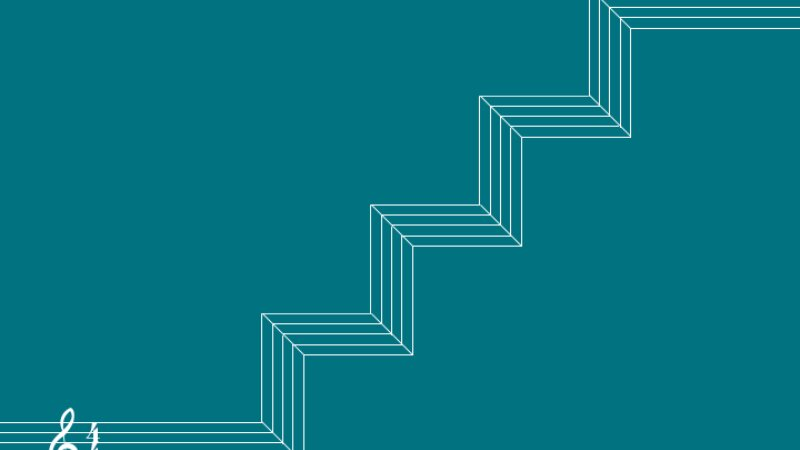 Header image, a musical stave rises to form 3d stairs