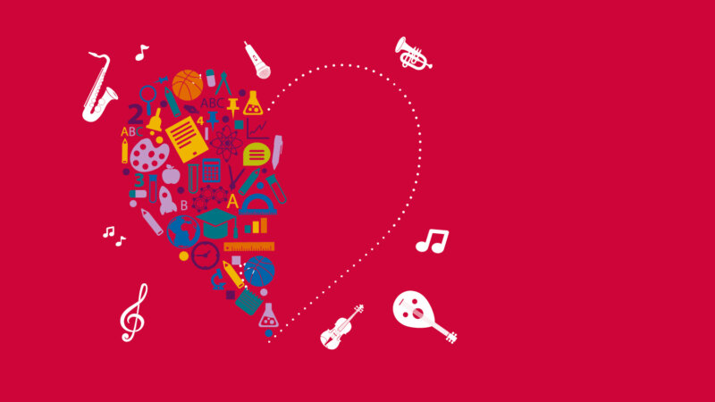 Drawn instruments in a heart shape