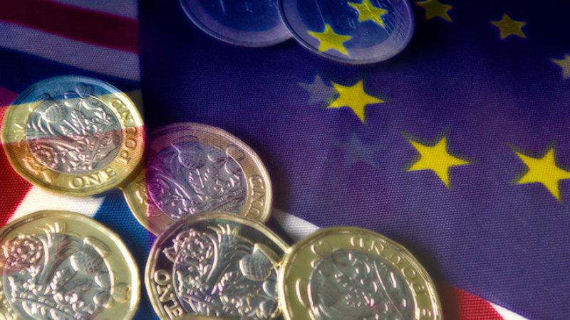 EU flag and pound coins